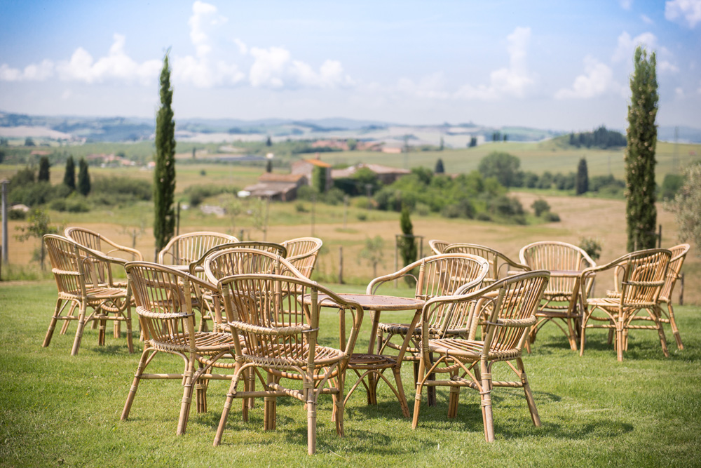 Wedding venue on rolling hills in Tuscany countryside