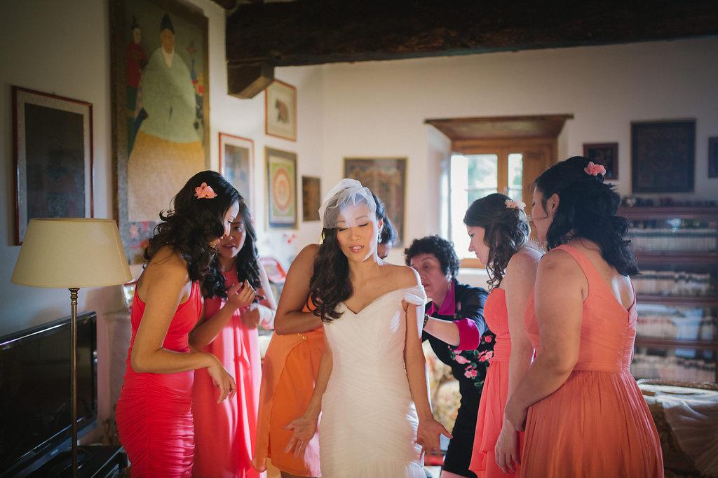 Wearing bridal dress, destination wedding in Tuscany Villa