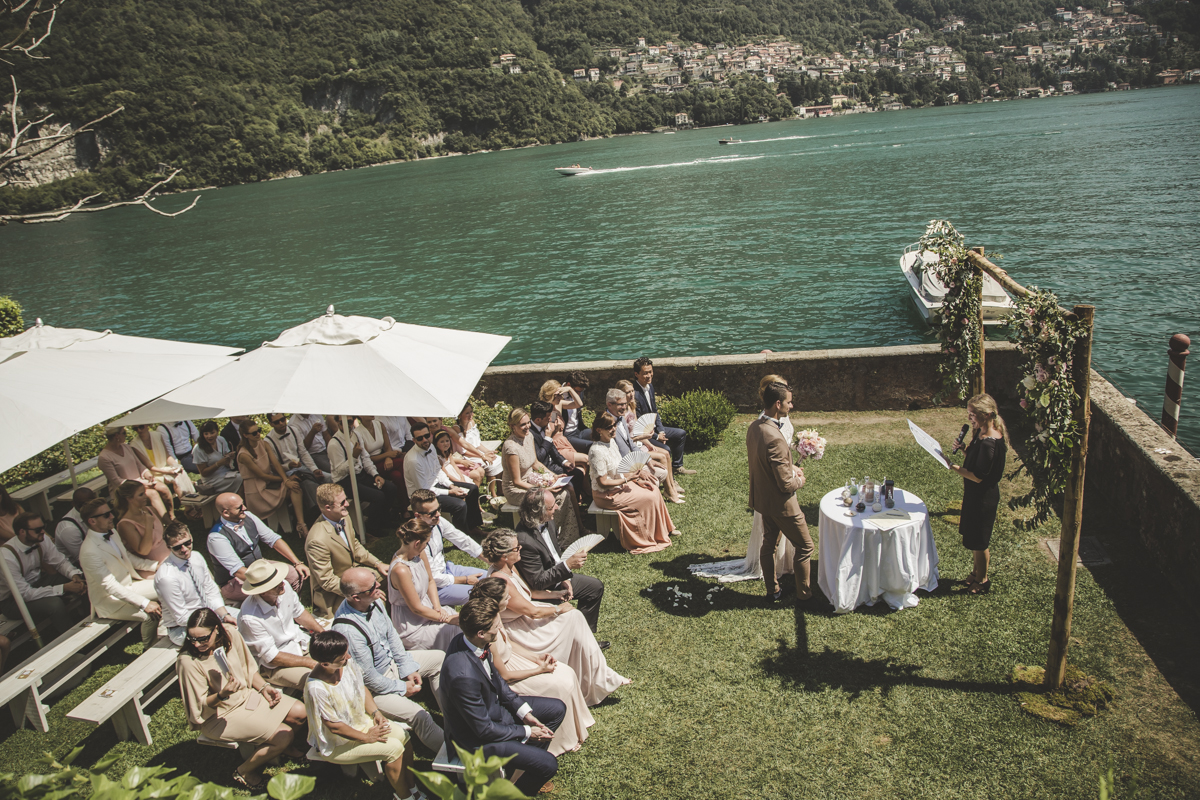 Ceremony on lakeshore Ceremony at Villa Regina Teodolinda A destination wedding in Lake Como