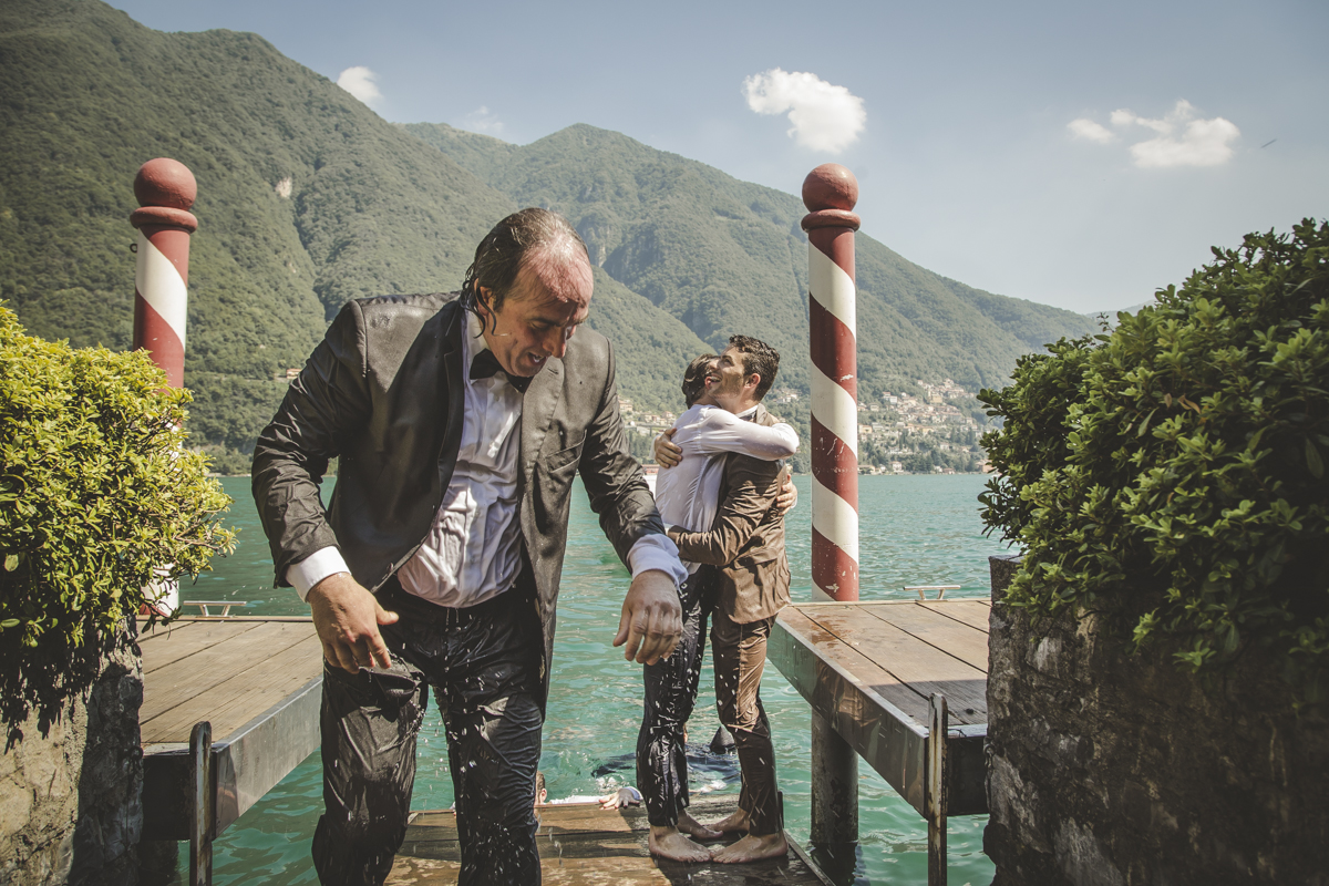 Jumping in Como Lake Wedding at VIlla Regina Teodolinda
