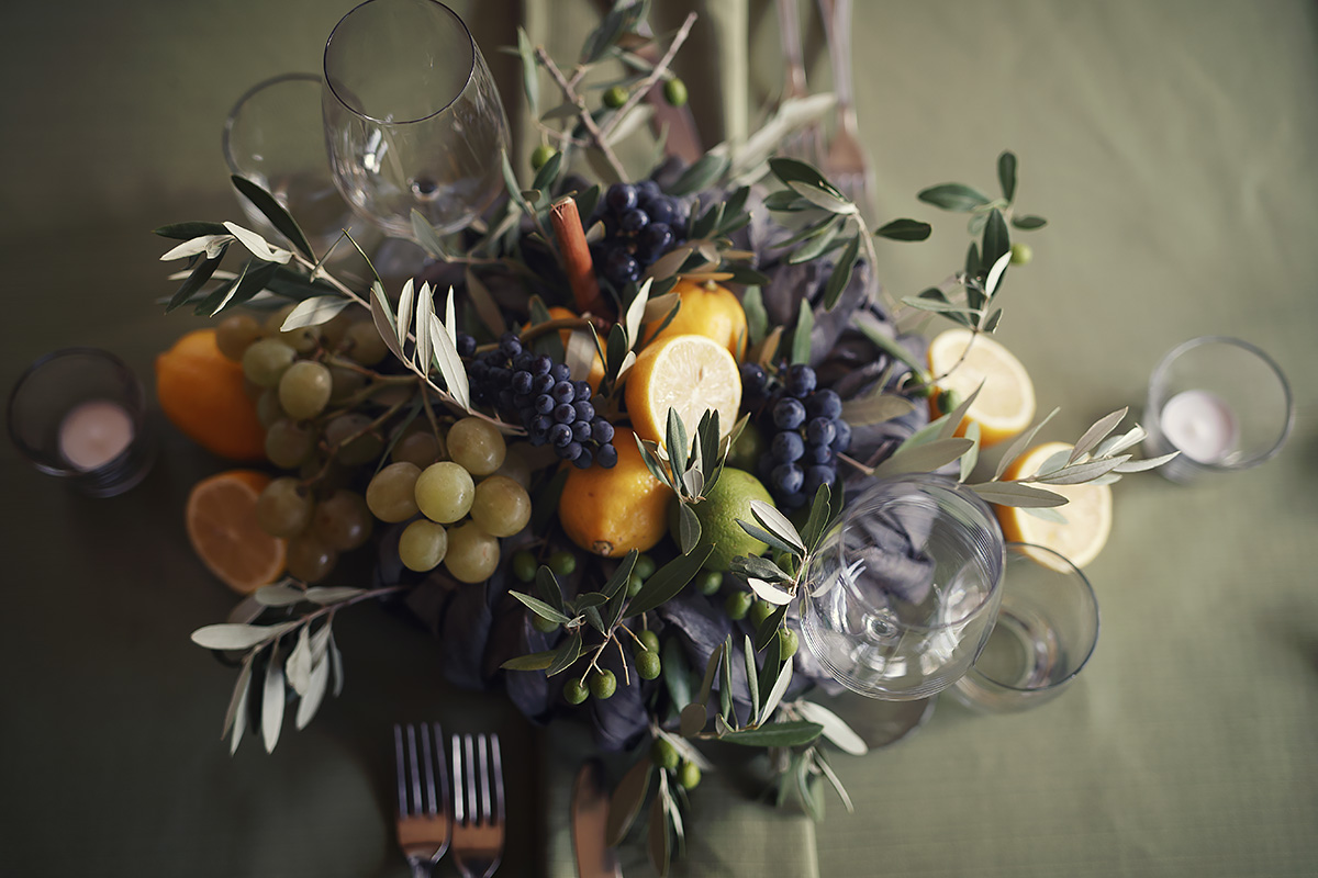 Fruits Table Centerpiece Welcome dinner in Tuscan Farmhouse Italian Wedding Designer