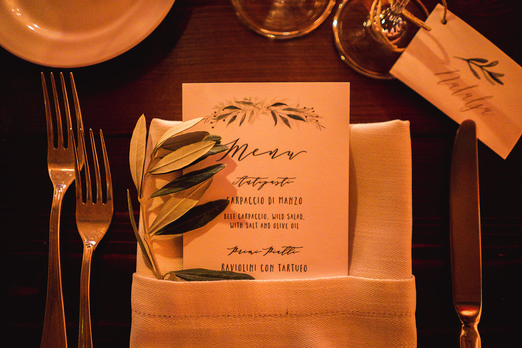 Menu - Wedding in Tuscany - Italian Wedding Designer