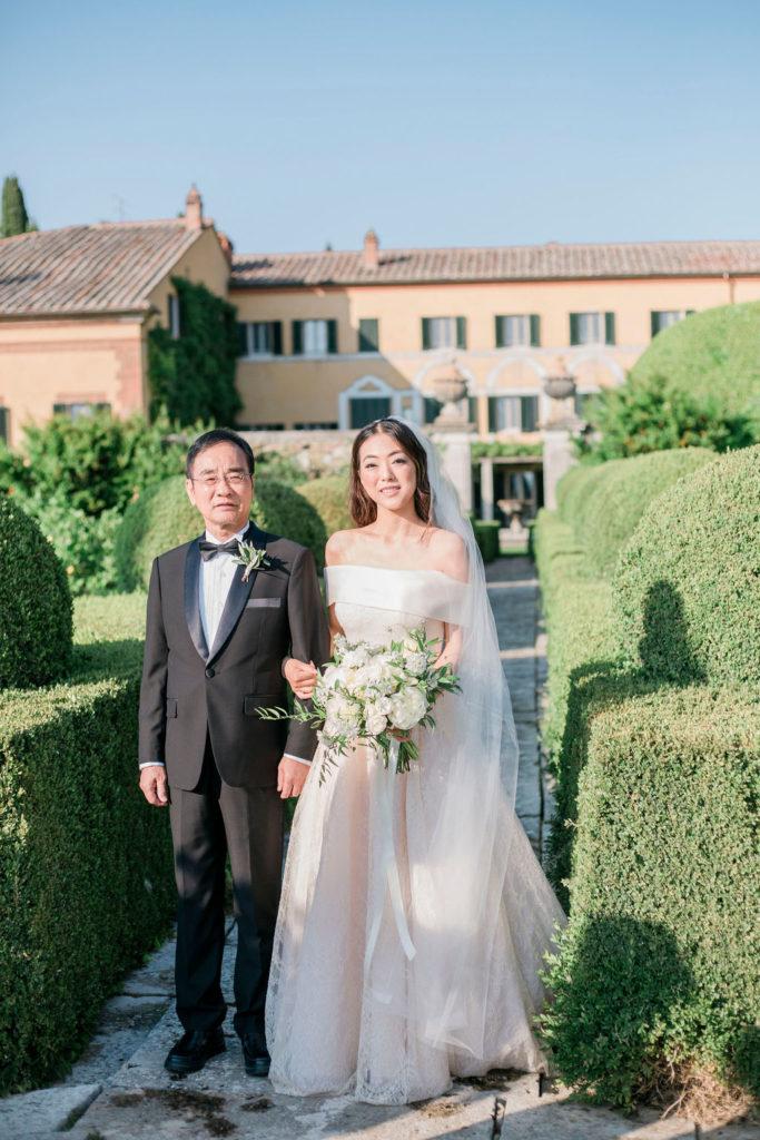 Bride & His father - Wedding at Villa La Foce - Italian Wedding Designer