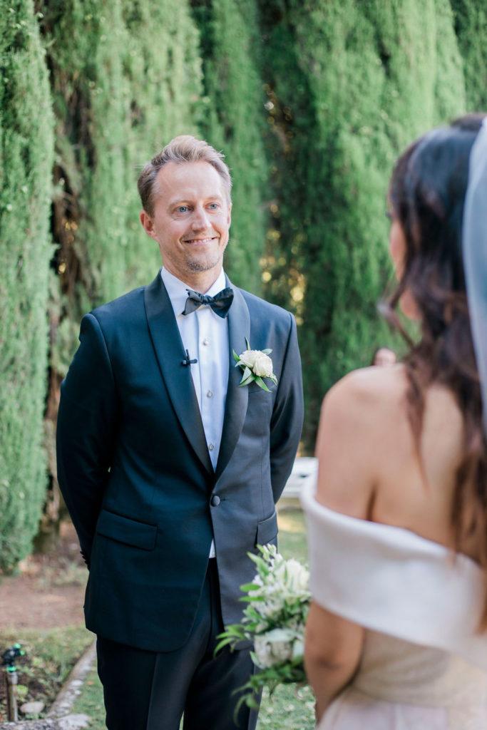 Bride & Groom during the ceremony - Wedding at Villa La Foce - Italian Wedding Designer