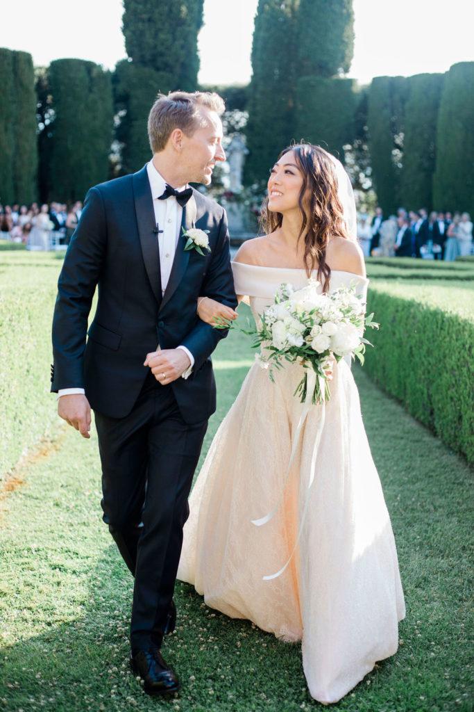 Bride & Groom exit - Wedding at Villa La Foce - Italian Wedding Designer