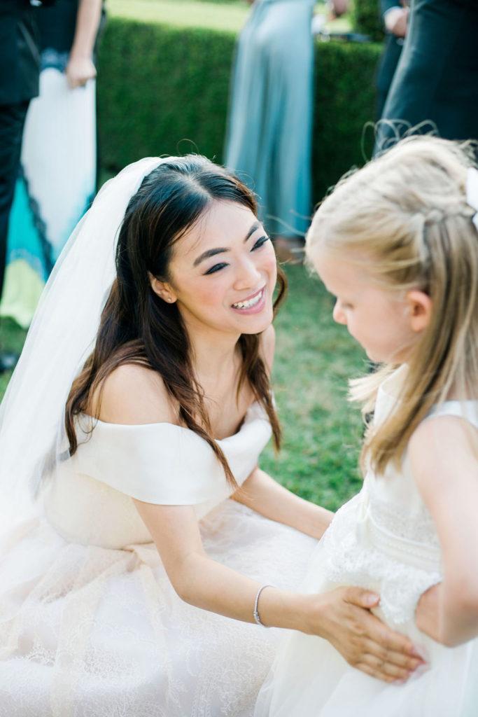 Bride and Flowers Girl - Wedding at Villa La Foce - Italian Wedding Designer