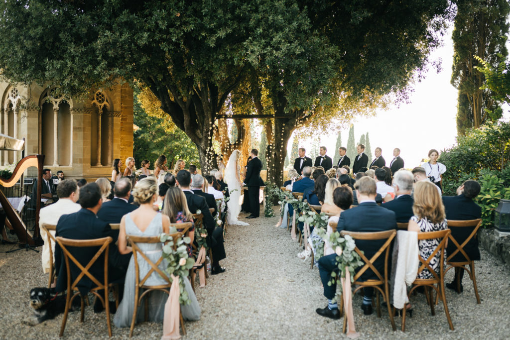Ceremony under the trees - Wedding at Villa Le Fontanelle - Italian Wedding Designer
