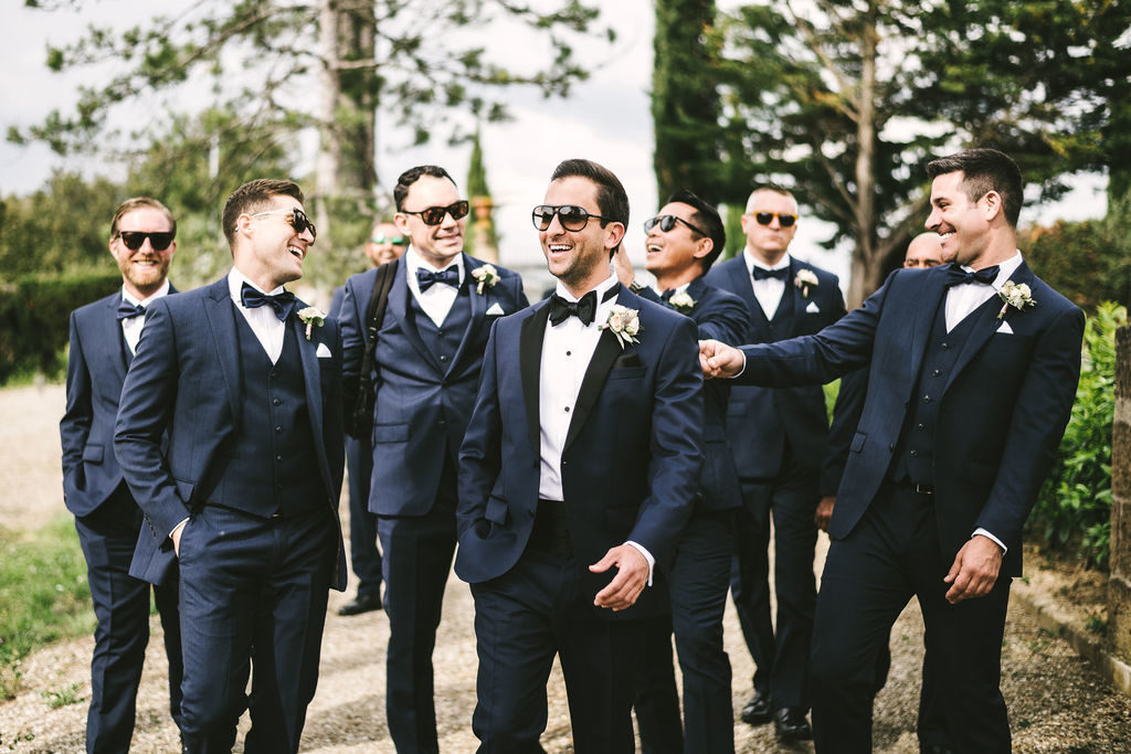 Groom and Best Men - Wedding at Villa La Selva - Italian Wedding Designer