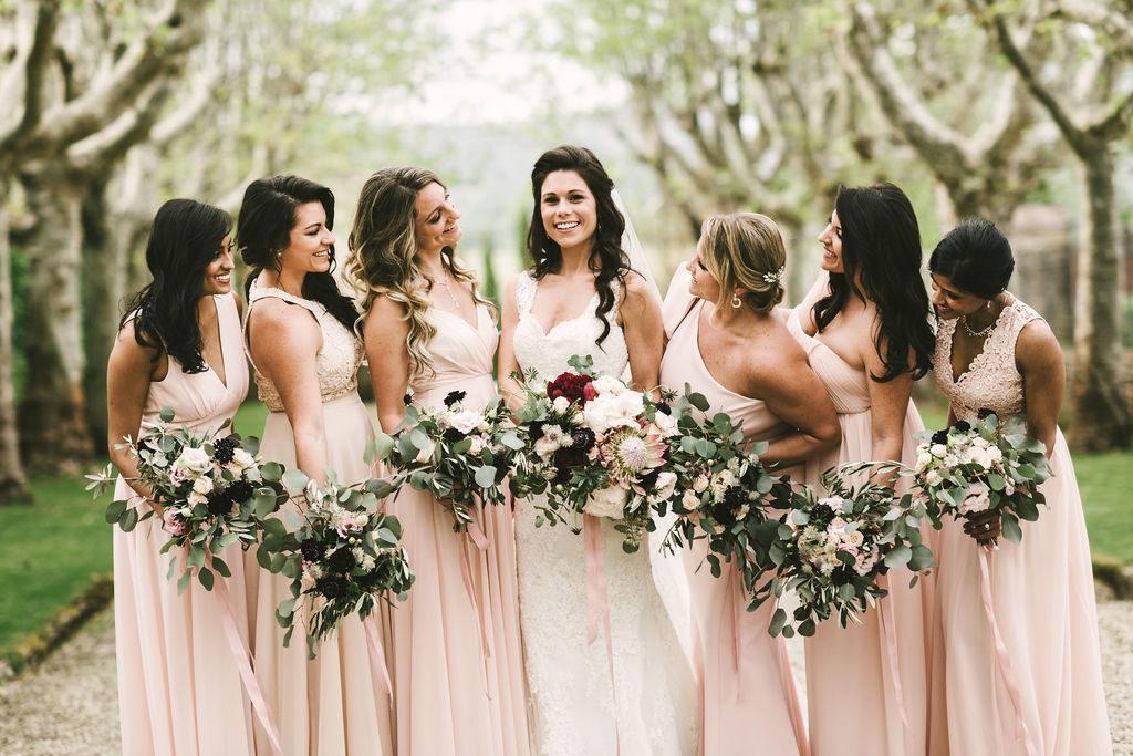 Bride and Bridesmaids - Wedding at Villa La Selva - Italian Wedding Designer