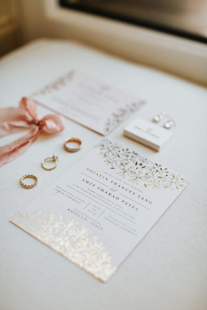 Gold Stationary - Hindu wedding at Hotel Caruso in Ravello - Italian Wedding Designer