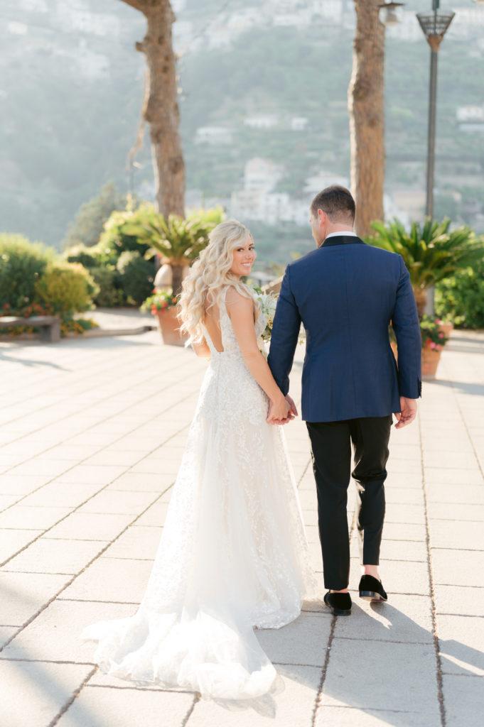 Bride and Groom in Amalfi Coast- Destination Wedding in Ravello - Italian Wedding Designer