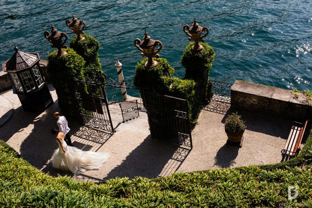 bride and groom arrival at Balbianello - Wedding at Villa Balbianello - Italian Wedding Designer