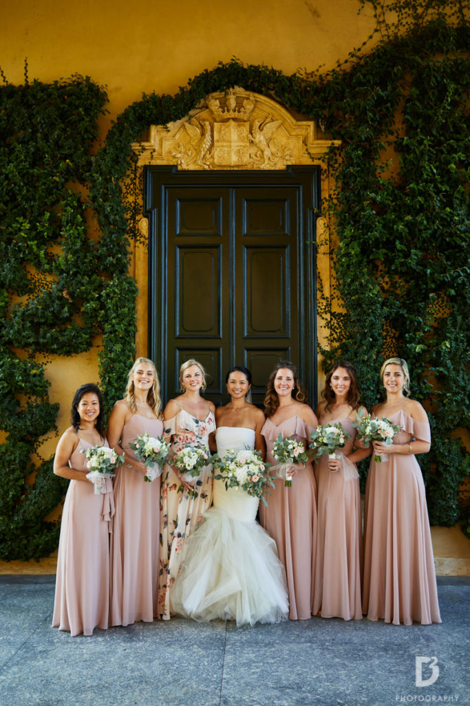Bride and Bridesmaids - Wedding at Villa Balbianello - Italian Wedding Designer