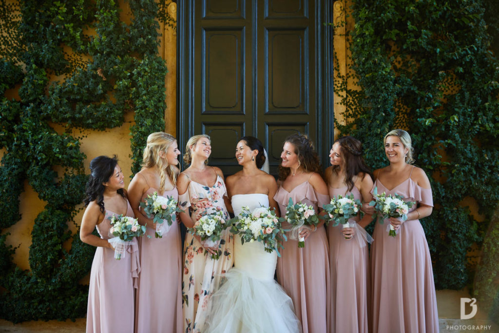 Bride and blush Pink Bridesmaids - Wedding at Villa Balbianello - Italian Wedding Designer