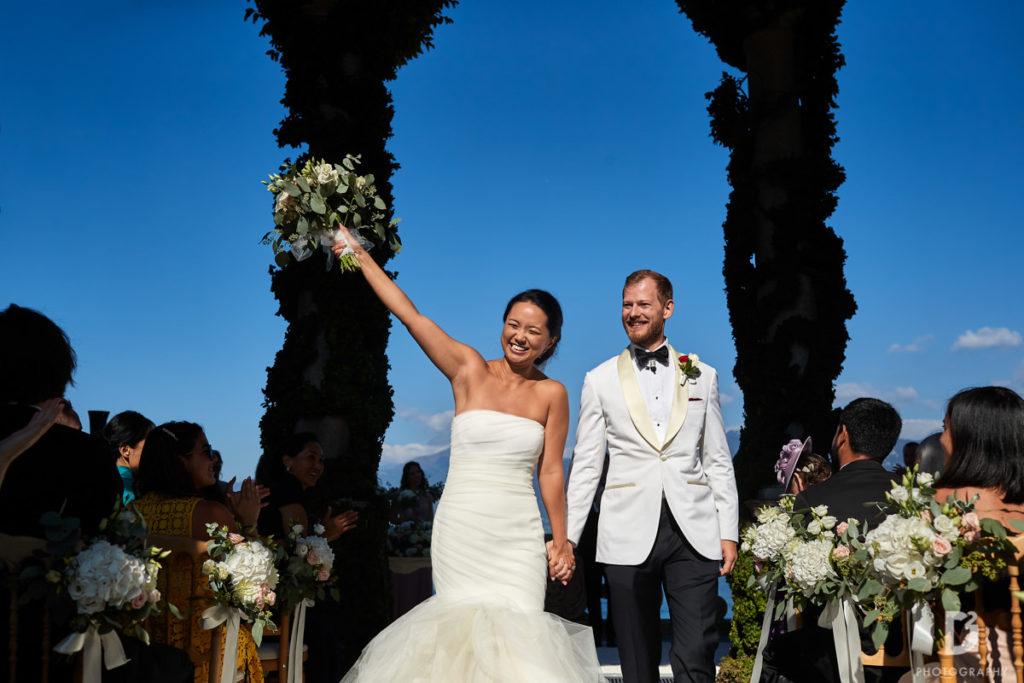 Bride and Groom exit - Wedding at Villa Balbianello - Italian Wedding Designer
