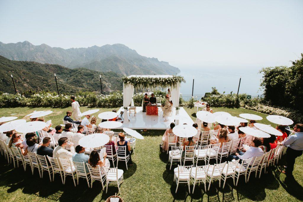Ceremony overlooking the sea - Hindu wedding at Hotel Caruso in Ravello - Italian Wedding Designer
